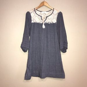 Entro Gray Blue Peasant Dress Size small